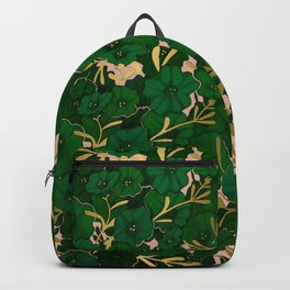 Green, Gold, and Pink, Floral Pattern Backpack