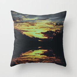 Sundown At Lake Heve 6 dark Throw Pillow