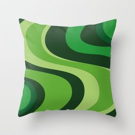 70's Green Vibe Throw Pillow