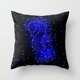 sea horse swims in lights Throw Pillow