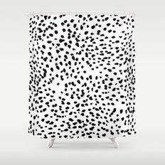 Nadia - Black and White, Animal Print, Dalmatian Spot, Spots, Dots, BW Shower Curtain