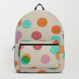 Smiley Face Stamp Print Backpack