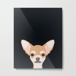 Misha - Chihuahua art print phone case gift for dog owner and dog people Metal Print
