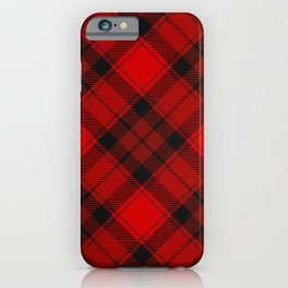 Red Tartan with Diagonal Dark Red and Black Stripes iPhone Case
