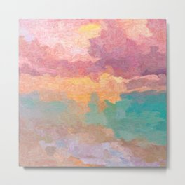 Sunset in Caribbean waters - Abstract painting Metal Print