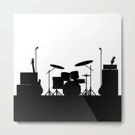 Rock Band Equipment Silhouette Metal Print