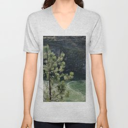 Sunny River Canyon With Churning Water and Pine Tree Unisex V-Neck