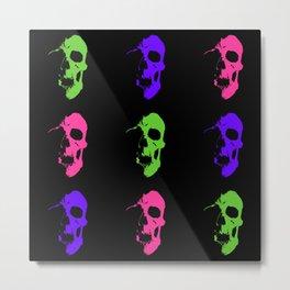Skull 3x3 - Lime/Purple/Pink Metal Print