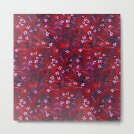 Apple Blossom, Floral Pattern, Faux Wool Texture, Red shades Metal Print
