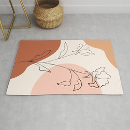 Poppies line drawing Rug