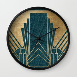 Art Deco glamour - teal and gold Wall Clock