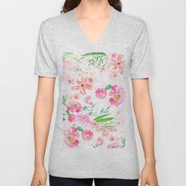 pink flowers and green leaf pattern  Unisex V-Neck