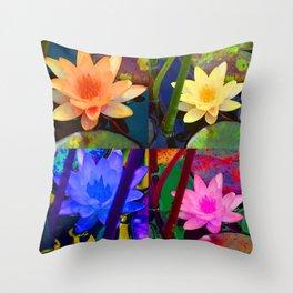Pop Art Water Lillies Throw Pillow