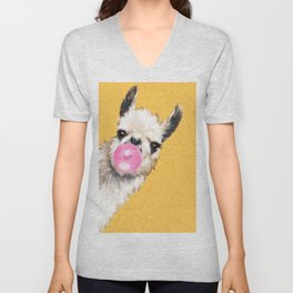 Bubble Gum Sneaky Llama in Yellow Unisex V-Neck