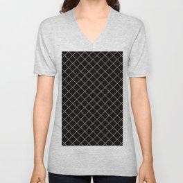 Pantone Hazelnut Thin Line Stripe Grid (Pinstripe Pattern) on Black Unisex V-Neck