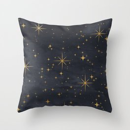 Seamless Pattern Night Sky Gold Stars Magical Mystical Pattern Throw Pillow