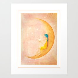 Girl on the Moon Art Print