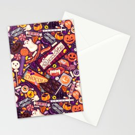 Creepy Halloween Candy on Purple Stationery Cards