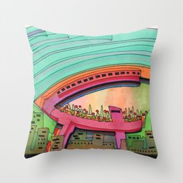 City Sky Cave Architectural Illustration 70 Throw Pillow