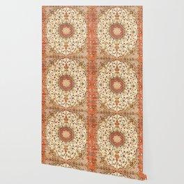 N71 - Orange Antique Heritage Traditional Moroccan Style Mandala Artwork Wallpaper