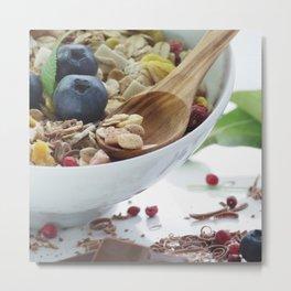 Fine sweet breakfast with fresh fruits Metal Print