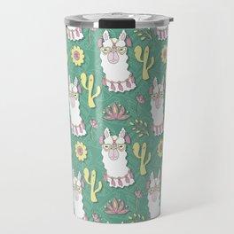 Cute calm llama in sunglasses Travel Mug