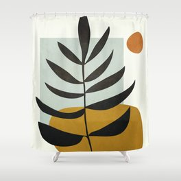 Soft Abstract Large Leaf Shower Curtain
