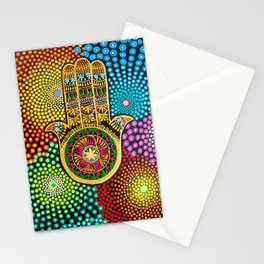 Hamsa Hand, hand of fatima, mandala, yoga art, mandala art, meditation art Stationery Cards