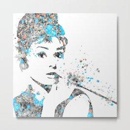Audrey Hepburn Watercolor Pop Art  Metal Print