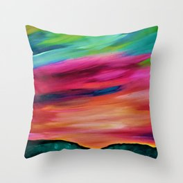 ROSY SKY OVER THE HILLS Throw Pillow
