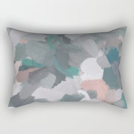 Mint Teal Blue Coral Pink Heather Gray Abstract Flower Wind Expressive Painting Modern Wall Art Rectangular Pillow