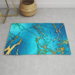 Gold And Teal Blue Indigo Malachite Marble  Rug