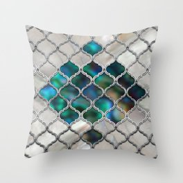 Moroccan pattern on the pearl and color shell Throw Pillow