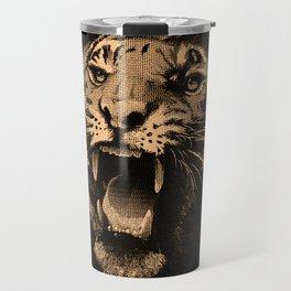 Vintage Tiger in black Travel Mug