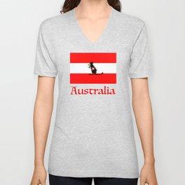 Australia - Kangaroo on Austrian Flag Unisex V-Neck