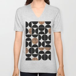 Mid-Century Modern Pattern No.1 - Concrete and Wood Unisex V-Neck