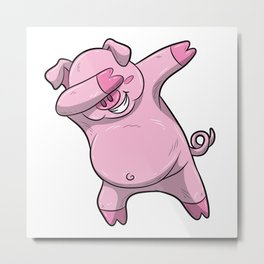 Dabbing Pig Design Pink Swine Cute Boar Metal Print