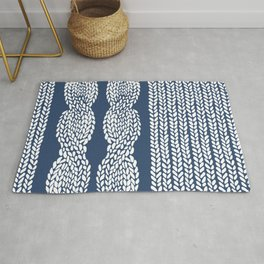 Cable Row Navy 1 Rug