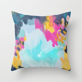 Blooms in storm- abstract pink, blue and teal  Throw Pillow