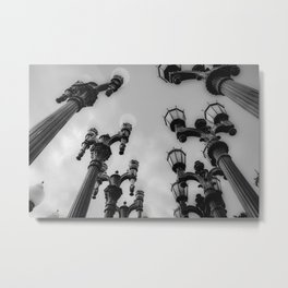 Urban Light at LACMA Los Angeles California USA in black and white Metal Print