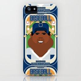 Baseball Blue Pinstripes - Rhubarb Pitchbatter - Hayes version iPhone Case