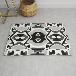 Geometric Aztec - black and white Rug