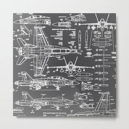 F-18 Blueprints // Charcoal-Grey Metal Print