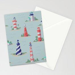 Nautical Lighthouses Coastal Print Stationery Cards