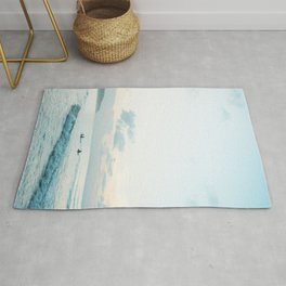 Once your board hits the water  | Surf travel photography print Rug