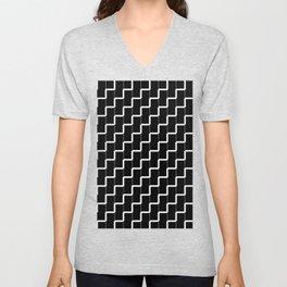Black and white lines Unisex V-Neck