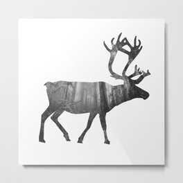 Moose Silhouette | Forest Photography Metal Print