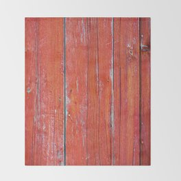 Red Rustic Fence rustic decor Throw Blanket