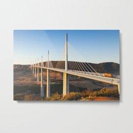 Millau Viaduct at Sunrise, Midi-Pyrenees, France Metal Print