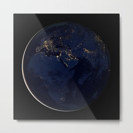 1158. Earth Black Marble - Africa, Europe, and the Middle East Metal Print